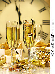 Midnight champagne for the New Year - Champagne glasses...