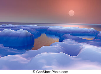 DAWN IN THE ICE - Digital design 3D rendered with...