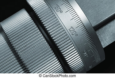 Adjustment - micrometer as part of cutting machine Close up...
