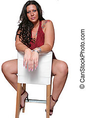 full figured woman - tattooed brunette full figured woman...