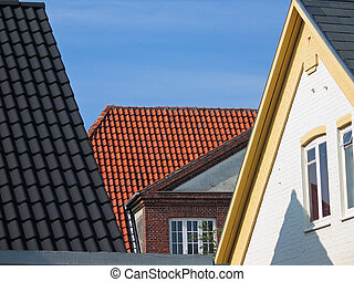 Roofs with tiles - Roof tops with different styles of tiles