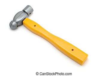 yellow hammer - object on white - tool toy yellow hammer