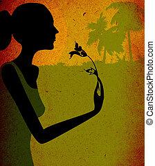 grunge design, woman with flower - grunge design, woman...