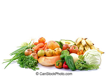 Organic Food - Many fruits and vegetables from the market .