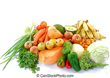 Raw Ingredients - Many fruits and vegetables from the market...