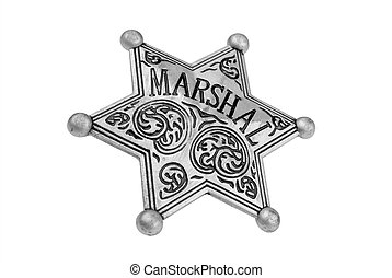 Marshal badge - Vintage toy Marshal badge over white with a...