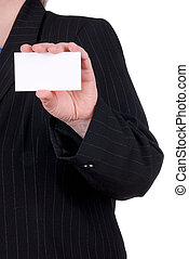 business woman holding business card - Stunning business...