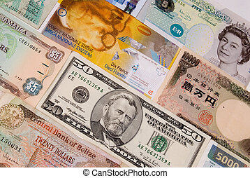 Assorted currencies - assorted international paper money...