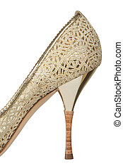 High heel fashionable female a shoe on a white background