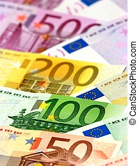 Arranged euro banknotes - Colorful euro banknotes: shallow...