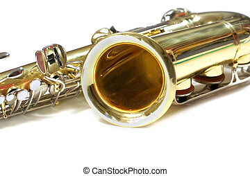 Saxophone - Isolated Saxophone music instrument on white...