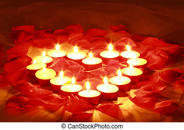 valentines candles - Red rose petals and candles for...