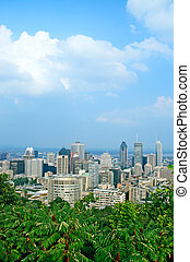 Montreal downtown - View over Montreal city center in summer...