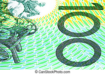 Australian One Hundred Dollar Note - Close-up of an...