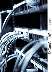 Network connection - A shot of network cables connected to...