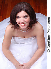 Wedding Dress - Happy Smiling Beautiful Brunette Bride...