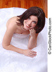 Happy Bride - Beautiful Brunette Young Woman Sat On The...