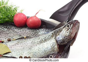 Fish product - Close-up of raw rainbow trouts in a pan ready...