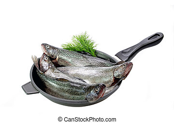 Pan with trouts - Close-up of raw rainbow trouts in a pan...