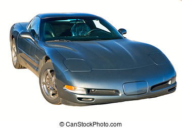 Corvette - Metalic blue corvette on an isolated background.
