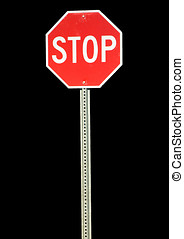 Stop sign - Red metal stop sign.