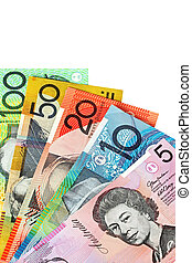 Australian Currency - Australian money, fanned on a white...