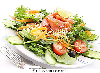 Smoked Salmon Salad - Smoked salmon salad, with mixed...