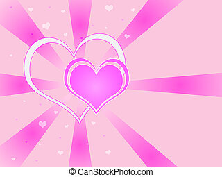 Two Hearts Background - Two hearts against a pink vortex...