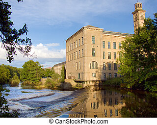 Salts Mill - Salts mill viewed from across the River Aire in...