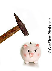 Piggy Bank - Pink piggy bank with hammer on white background