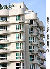 Modern apartment buildings with windows in singapore