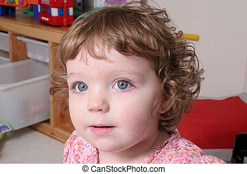 A cute curly headed girl - A cute, blue eyed, curley headed...
