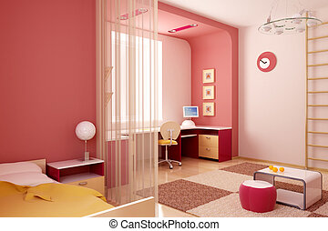 children\\\'s room interior - 3d interior of the...