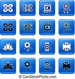retro buttons - collection of blue square retro rollover...