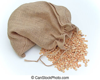 Linen sack of pea - The linen sack with the scatter pea