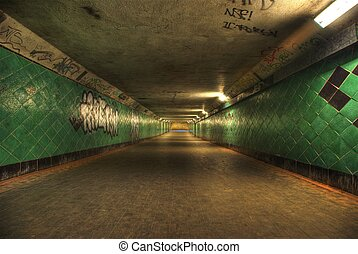 HDRI of a long tunnel - This tunnel is 120 meters long, 5...