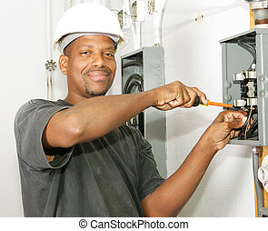 Handsome Electrician - Handsome african american electrician...