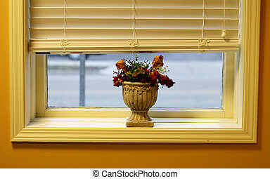 Flowers on window will - Flower pot with dead roses sitting...