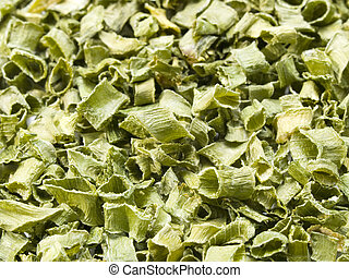 Dried Chives Background - A close up on a pile of dried...