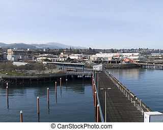Pacific Northwest Town - A small town by the water in the...