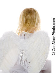 little angel - little girl dressed as angel on white...