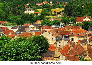 Rooftops in Sarlat, France - Red rooftops of medieval houses...