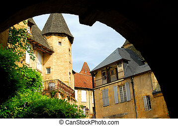 Medieval Sarlat, France - View from the arch in medieval...