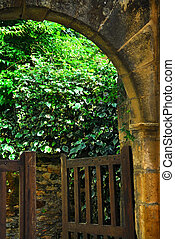 Garden gate in Sarlat, France - Garden gate in medieval town...