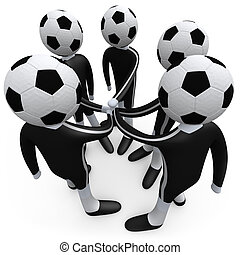 Sports Team - Members of a team putting their hands...