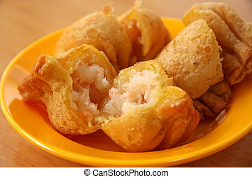 Fried dimsum traditional chinese tidbits snack breakfast
