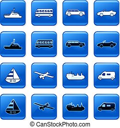 transport buttons - collection of blue square transportation...
