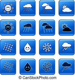 weather buttons - collection of blue square weather rollover...