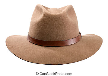 hat - cowboy hat isolated on white close up shoot