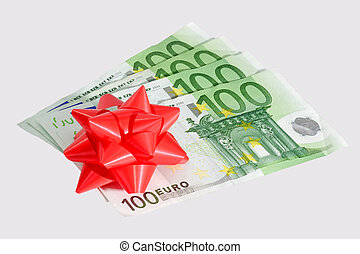 Donated - Five onehundred Euro notes with red bow - isolated